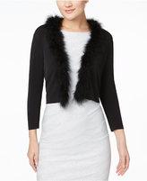 Calvin Klein Faux-Fur-Trim Shrug