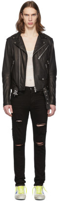 Amiri Black Leather Lightweight Biker Jacket
