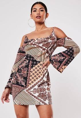 Missguided Black Scarf Print Cold Shoulder Mini Dress