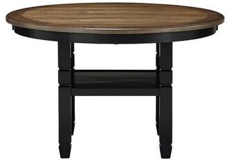 "Gracie Oaks Borchardt 47"" ROUND DINING TABLE-BLACK Gracie Oaks Base Color: Cottage White, Top Color: Dark Brown"