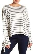 Caslon Striped Cold-Shoulder Sweatshirt