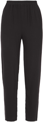 Mansur Gavriel Cropped Gathered Crepe Tapered Pants