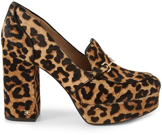 Sam Edelman Aretha Leopard Calf Hair Block-Heel Loafers