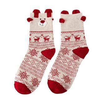 DEELIN Women Merry Christmas Valentines Day Gift Cute Snowflake Reindeer Print Fun Funky Novelty Thermal Cotton Socks Multi-Color Winter Socks B