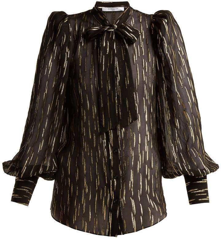 Givenchy Pussy-bow metallic fil-coupé silk-blend blouse