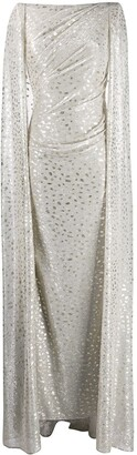 Talbot Runhof Metallic Cape Dress