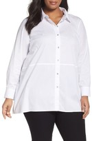 Eileen Fisher Plus Size Women's Stretch Cotton Classic Collar Shirt