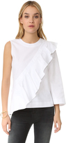 BCBGMAXAZRIA Leilone One Shoulder Ruffle Blouse