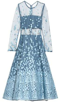 Alexis Embroidered Tulle Midi Dress