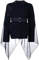 Sacai ribbed cape detail jumper - women - Wool/Polyester - 1