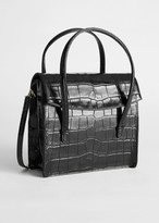 And other stories Leather Croc Square Crossbody Bag