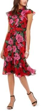 Julia Jordan Floral-Print Flutter-Sleeve Dress
