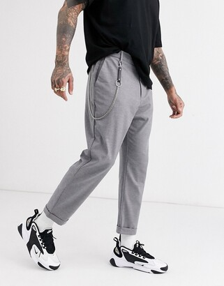 Bershka carrot fit trousers with chain in grey
