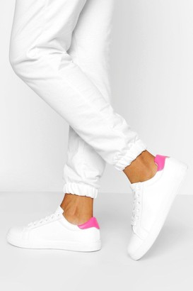 boohoo Wide Fit Basic Lace Up Flat Trainers