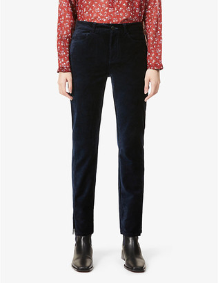 Paige Ladies Blue Embroidered Cindy Split-Cuff High-Rise Cotton-Blend Velvet Jeans, Size: 24