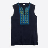 J.Crew Factory Embroidered placket tank top