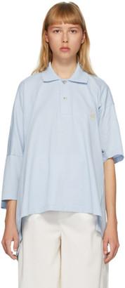 Lanvin Blue Oversize Asymmetric Polo
