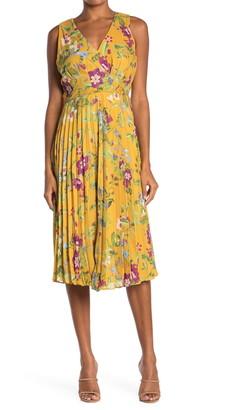 Taylor Pleated Printed Chiffon Dress