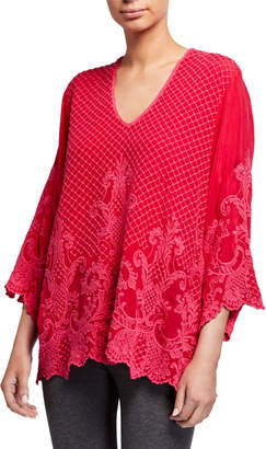 Johnny Was Plus Size Jayne Tonal Embroidered V-Neck 3/4-Sleeve Top