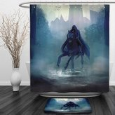 Vipsung Shower Curtain And Ground MatFantasy WorldFantasy Horseman with Hood Riding in Dark Mystic Foggy Forest Road Fairytale Theme NavyShower Curtain Set with Bath Mats Rugs