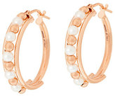 """Honora As Is Cultured Pearl 3.0mm Round 1"""" Bronze Hoop Earrings"""