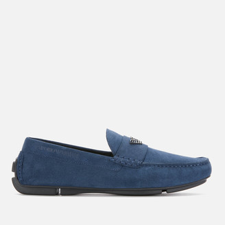 Emporio Armani Men's Suede Driving Shoes - Midnight