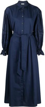 P.A.R.O.S.H. Tied-Waist Cotton Shirt Dress