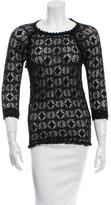 Isabel Marant Embroidered Three-Quarter Sleeve Top