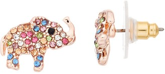 Lauren Conrad Rose Gold Tone Rainbow Simulated Stone Elephant Nickel Free Stud Earrings