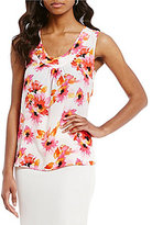 Kasper Floral Gathered V-Neck Cami