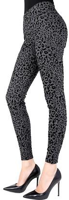 Me Moi Cheetah-Print Flocked Shaping Leggings