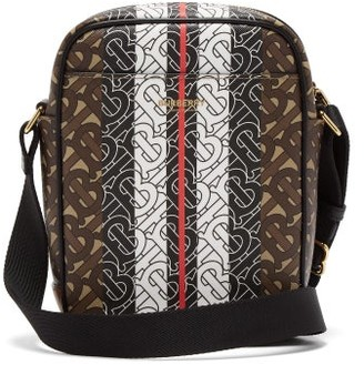 Burberry Thornton Tb-monogram Coated-canvas Messenger Bag - Brown
