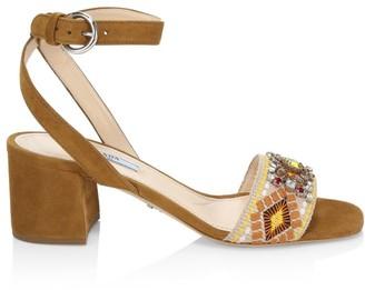 Prada Embellished Embroidered Block-Heel Leather Sandals