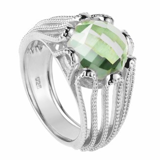 Neola Alessia Silver Cocktail Ring With Green Amethyst