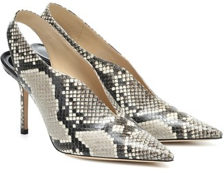 Jimmy Choo Saise 85 snake-effect leather slingback pumps