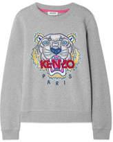 Kenzo Embroidered Cotton-jersey Sweatshirt - Gray