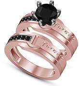 TVS-JEWELS Forever Love Bridal Ring Set For Women's & Girl 14k Rose Gold Plated 925 Silver Black CZ (11.5)