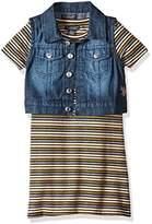 U.S. Polo Assn. Girls' Striped Textured Knit Dress With Lurex Threads and Stretch Sateen Denim Vest