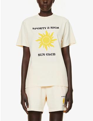 Sporty & Rich Sun Club logo-print cotton-jersey T-shirt