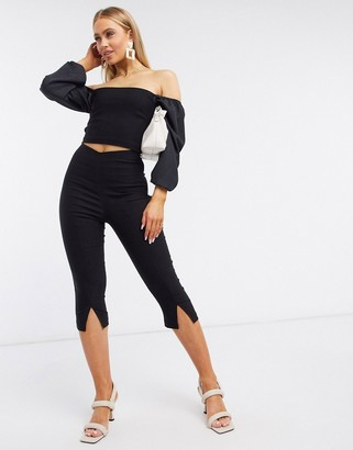 Vesper cropped skinny pants with split co ord in black