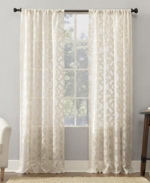 "No. 918 Yvette 52"" x 63"" Trellis Jacquard Sheer Curtain Panel"