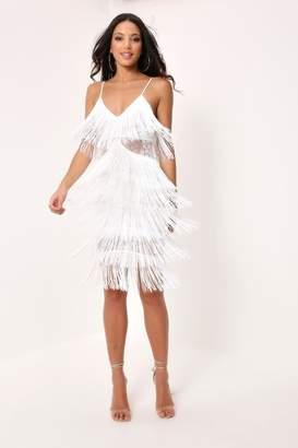 I SAW IT FIRST White Sheer Fringe & Lace Midi Dress