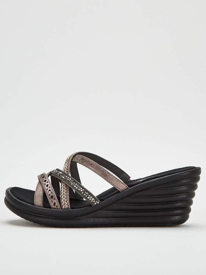 Lassie Pewter Rumbler Wave New Wedge Sandals E29DWHIY