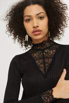 YAS High Neck Long Sleeve Lace T-Shirt by Y.A.S