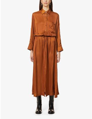 Zadig & Voltaire Radial drawstring-waist satin-crepe midi dress