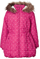 John Lewis Girls' Star Print Longline Coat, Pink