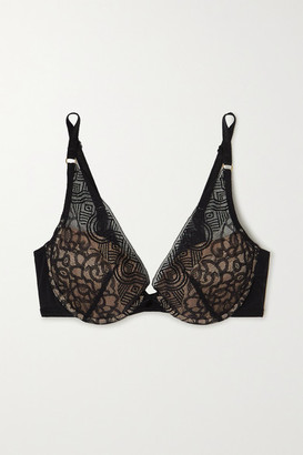 Chantelle Dusk Stretch-tulle And Lace Padded Underwired Plunge Bra - Black