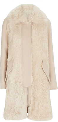 Yves Salomon Shearling Trimmed Wool-Cashmere Coat