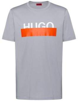 HUGO Cotton T-shirt with reworked cropped logo