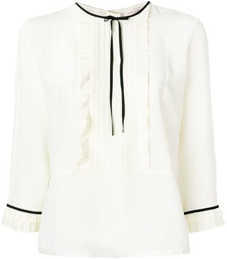Marc Jacobs Pleated Ruffled Detail Blouse